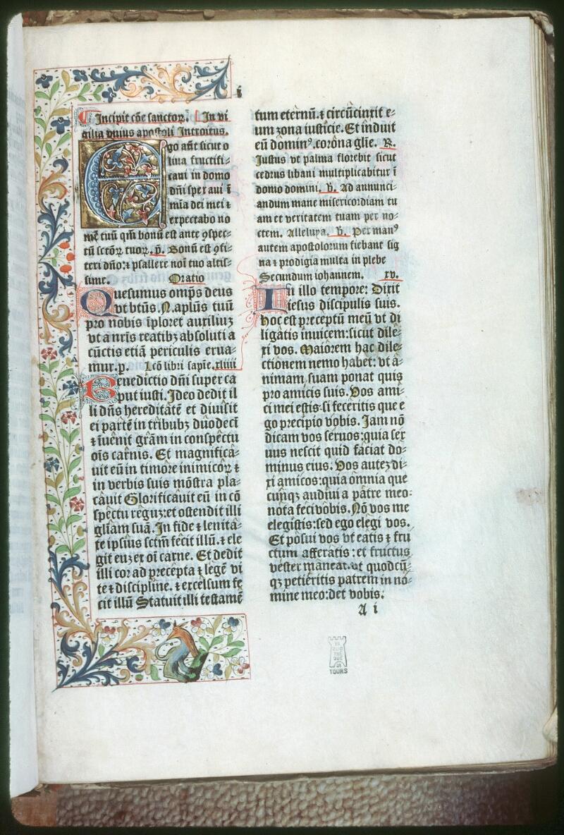 Tours, Bibl. mun., rés. 7599, f. I
