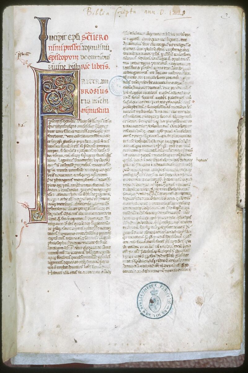 Tours, Bibl. mun., ms. 0001, f. 002
