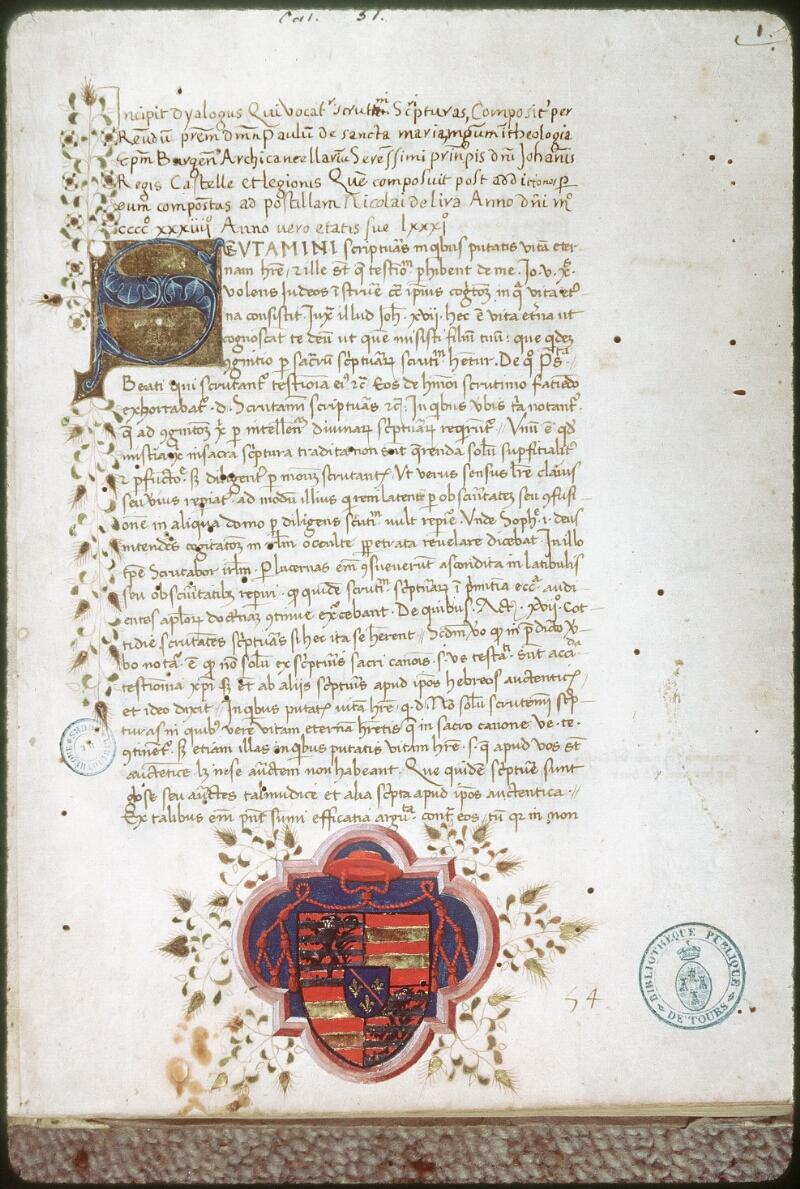 Tours, Bibl. mun., ms. 0051, f. 001 - vue 1