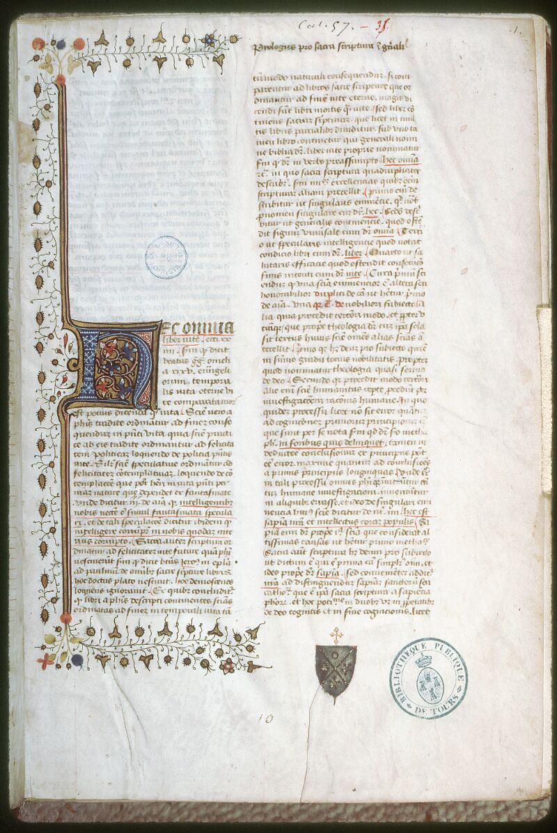 Tours, Bibl. mun., ms. 0057, f. 001 - vue 1