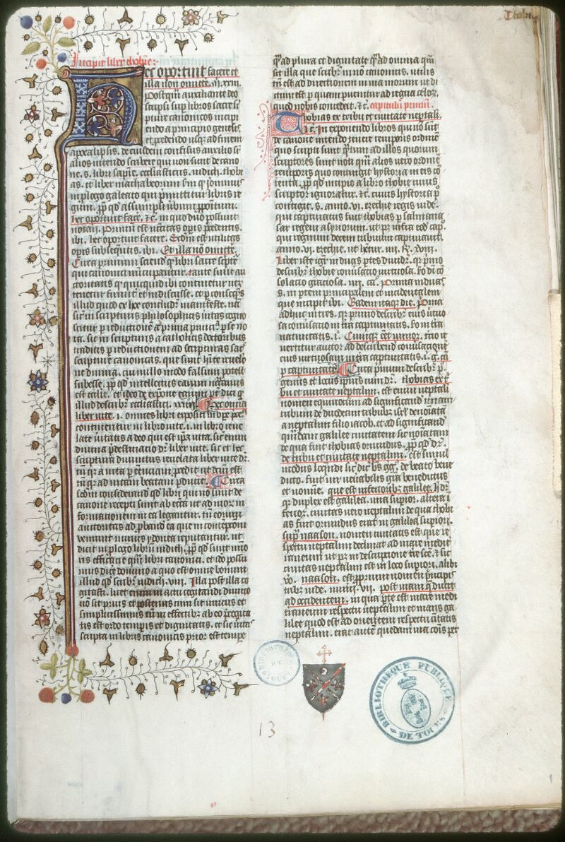 Tours, Bibl. mun., ms. 0060, f. 001 - vue 1