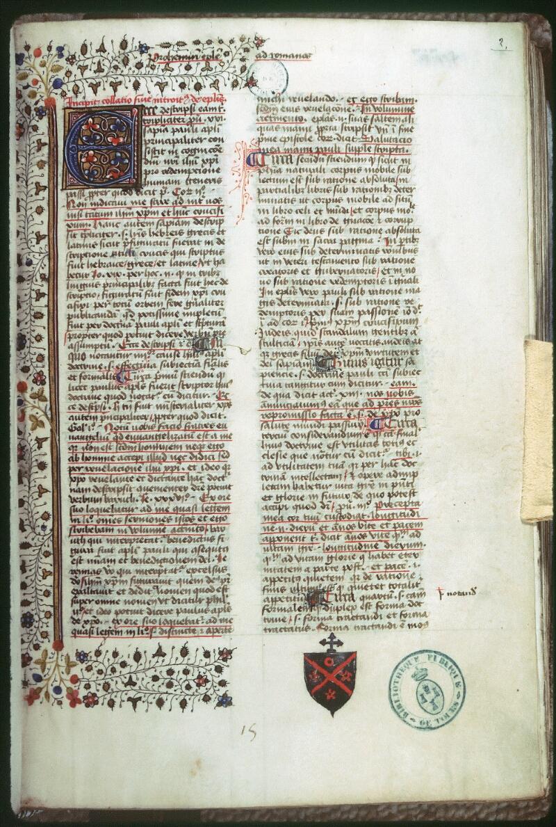 Tours, Bibl. mun., ms. 0062, f. 002 - vue 1