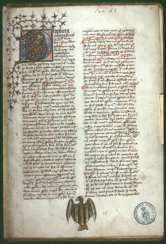 Tours, Bibl. mun., ms. 0063, f. 001 - vue 1