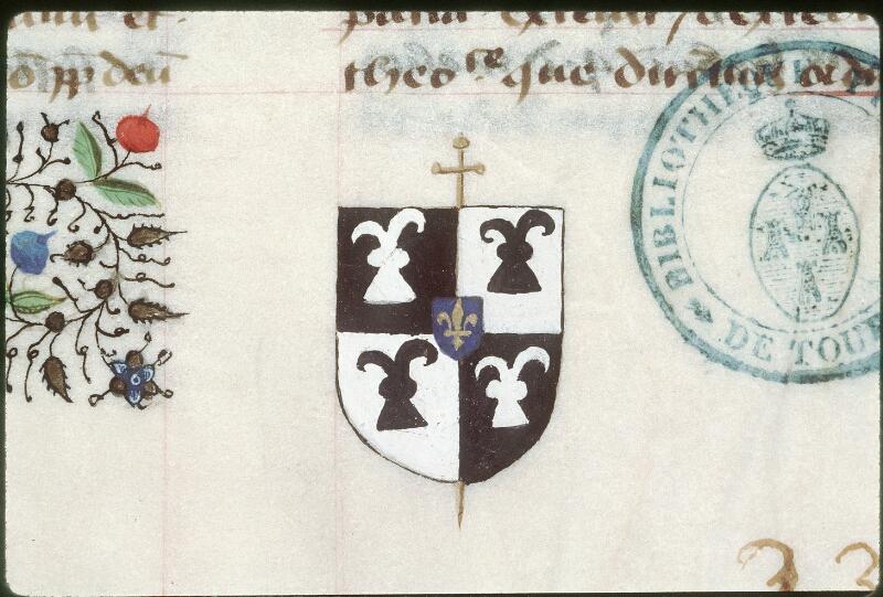 Tours, Bibl. mun., ms. 0391, f. 001 - vue 2