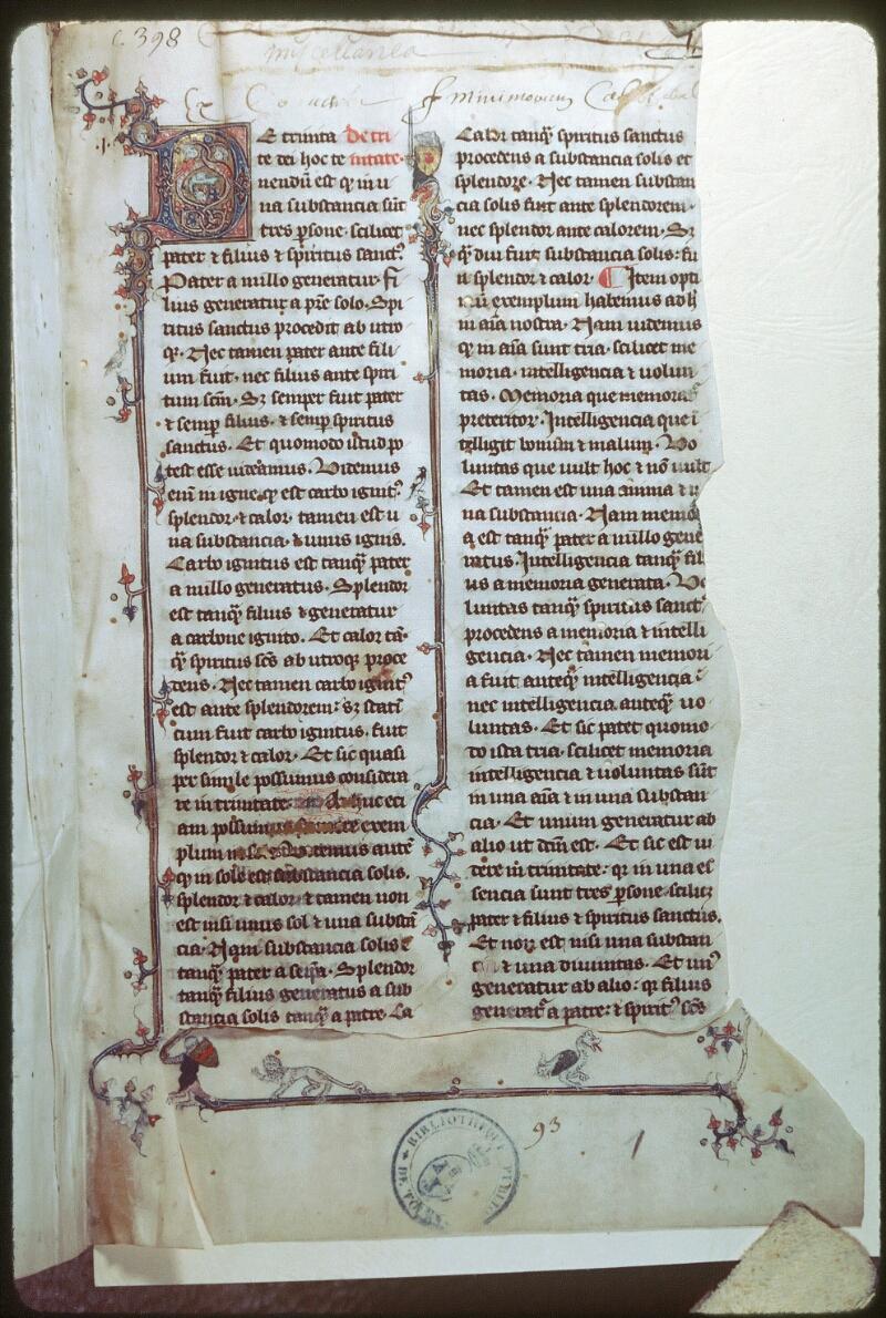 Tours, Bibl. mun., ms. 0398, f. 001 - vue 1