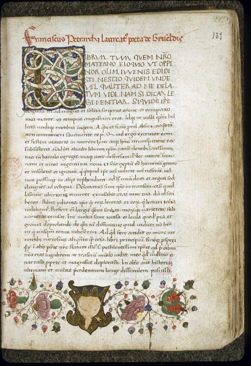 Lyon, Bibl. mun., ms. 0168, f. 137 - vue 1