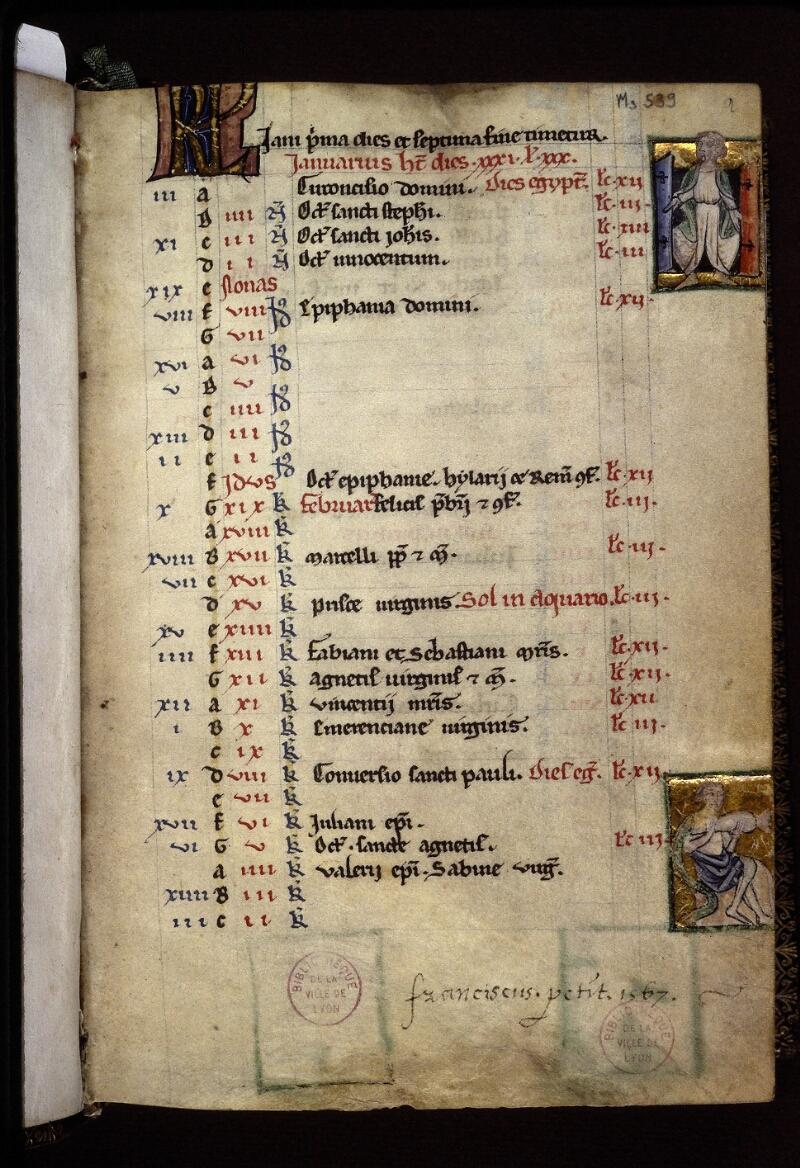 Lyon, Bibl. mun., ms. 0539, f. 002 - vue 1