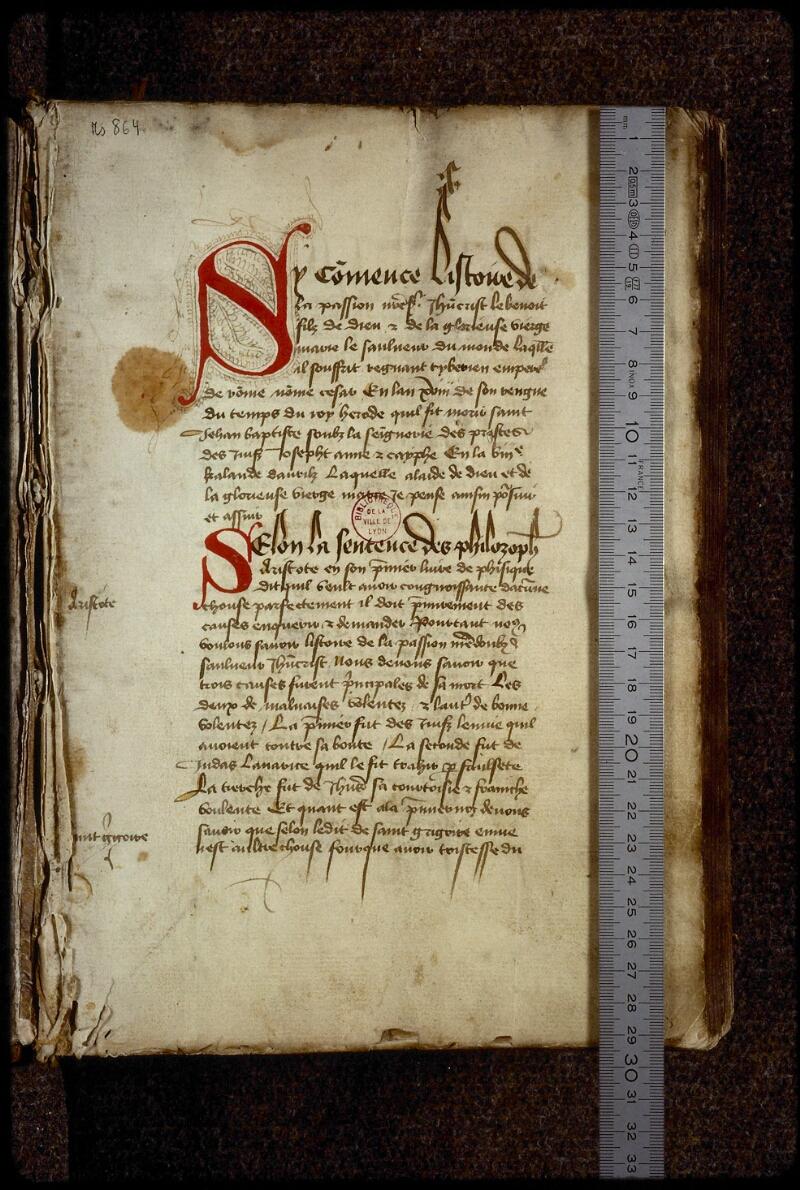 Lyon, Bibl. mun., ms. 0864, f. 001 - vue 1