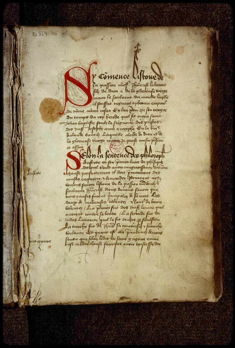 Lyon, Bibl. mun., ms. 0864, f. 001 - vue 2