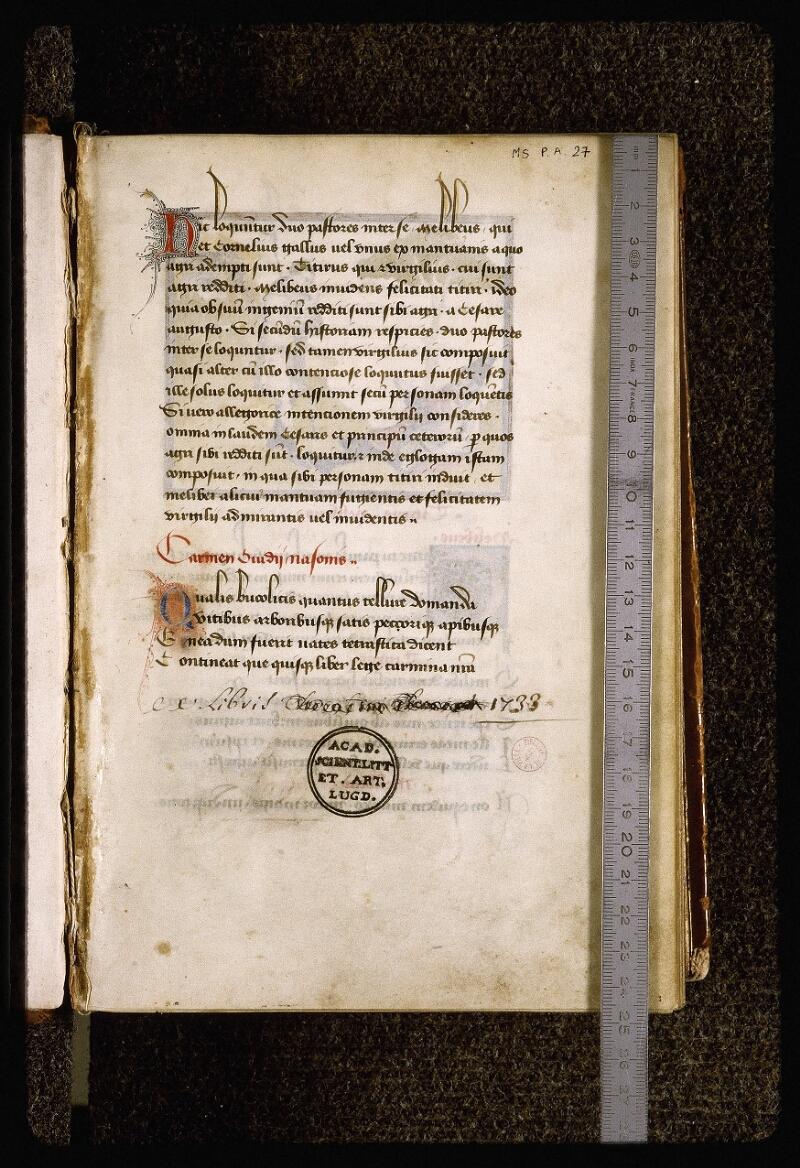 Lyon, Bibl. mun., ms. Palais des Arts 027, f. 001 - vue 1