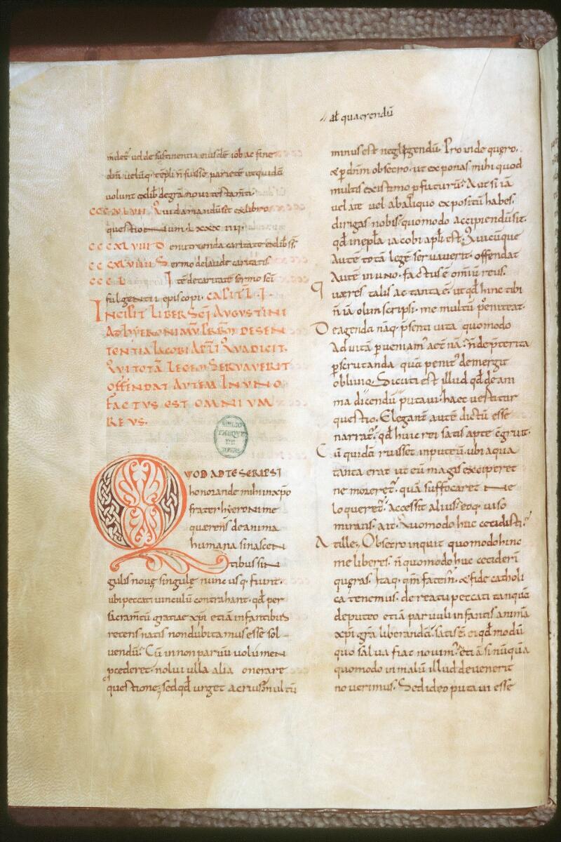 Tours, Bibl. mun., ms. 0296, f. 010v - vue 1