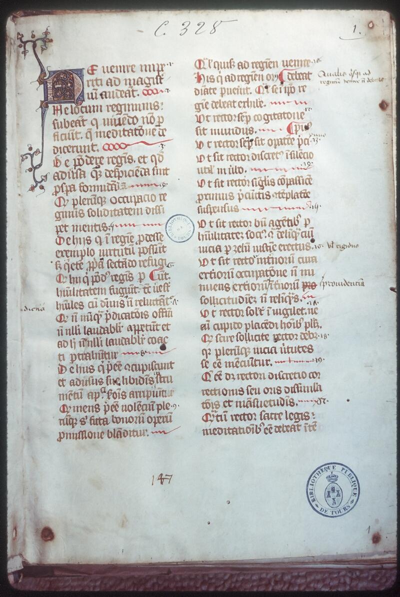 Tours, Bibl. mun., ms. 0328, f. 001