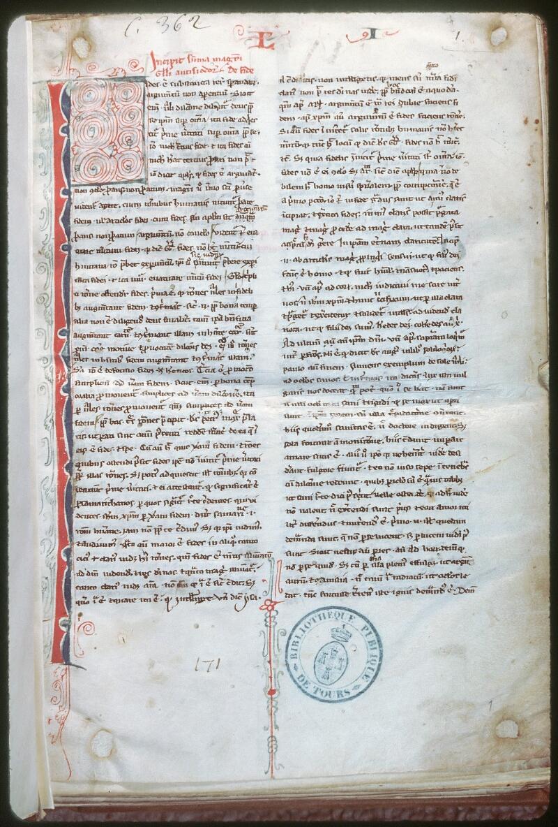 Tours, Bibl. mun., ms. 0362, f. 001