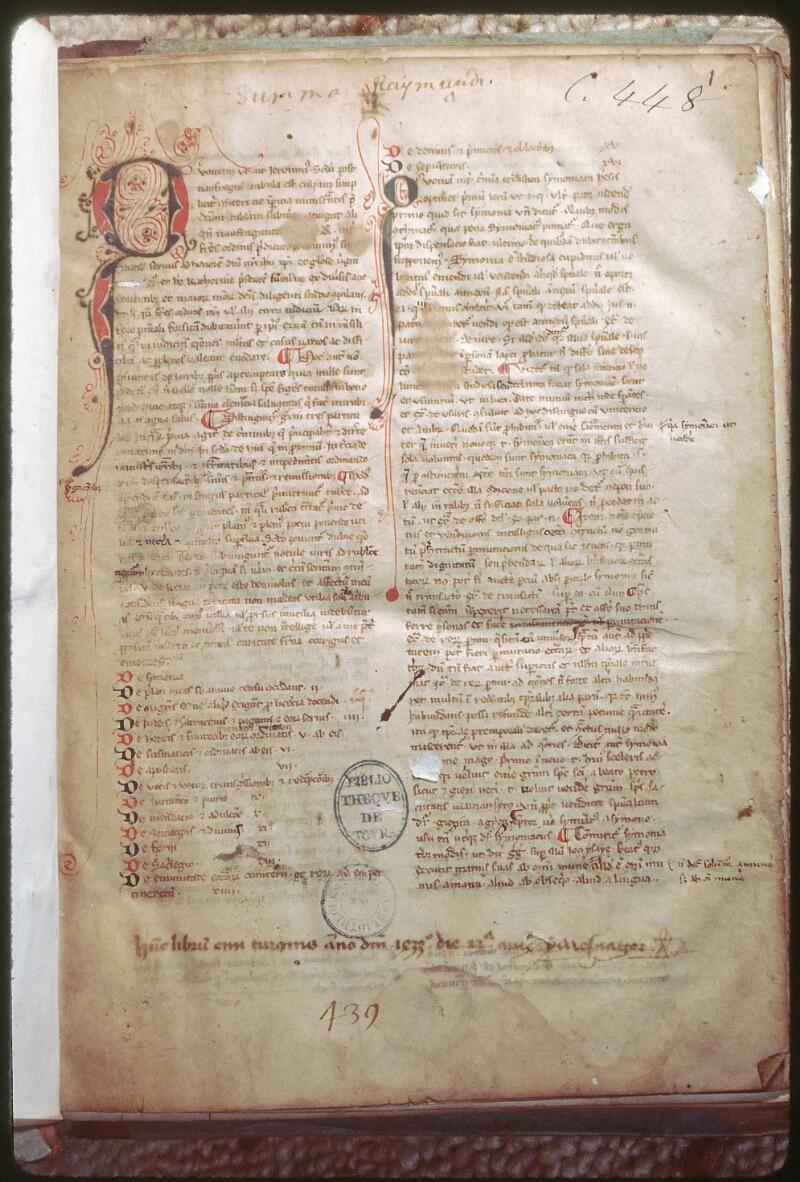 Tours, Bibl. mun., ms. 0448, f. 001