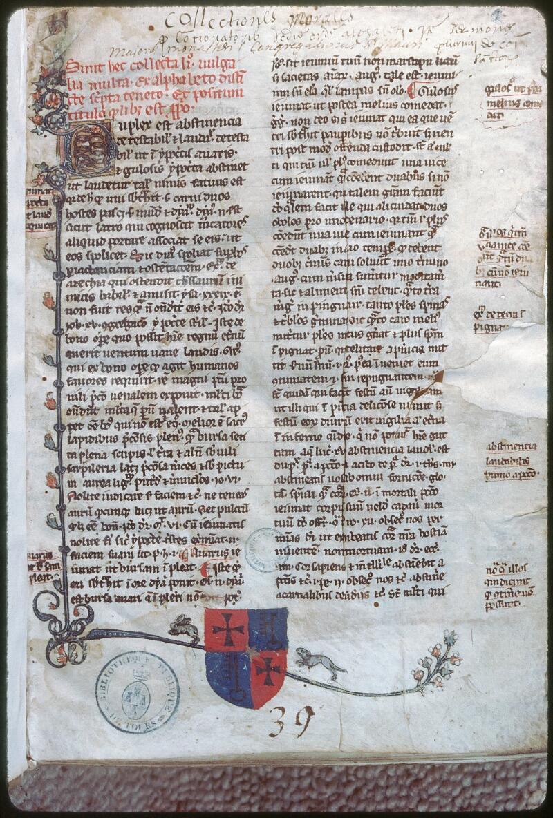 Tours, Bibl. mun., ms. 0460, f. 001 - vue 1