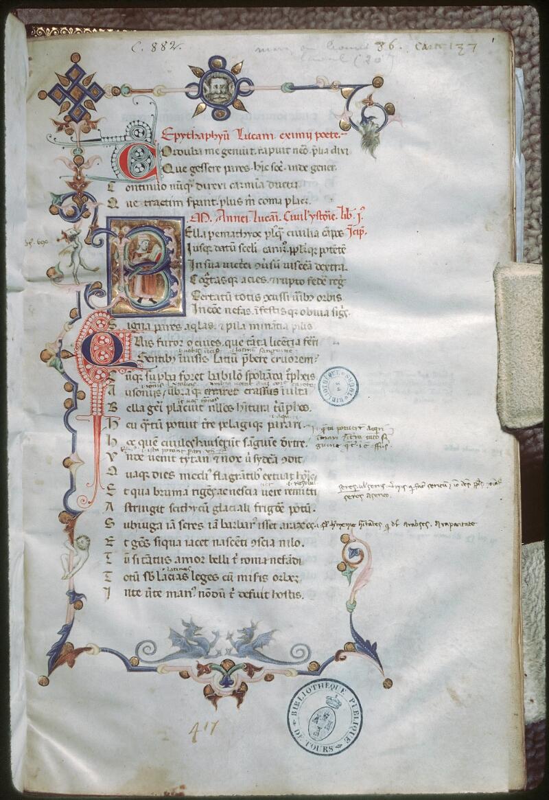 Tours, Bibl. mun., ms. 0882, f. 001 - vue 1