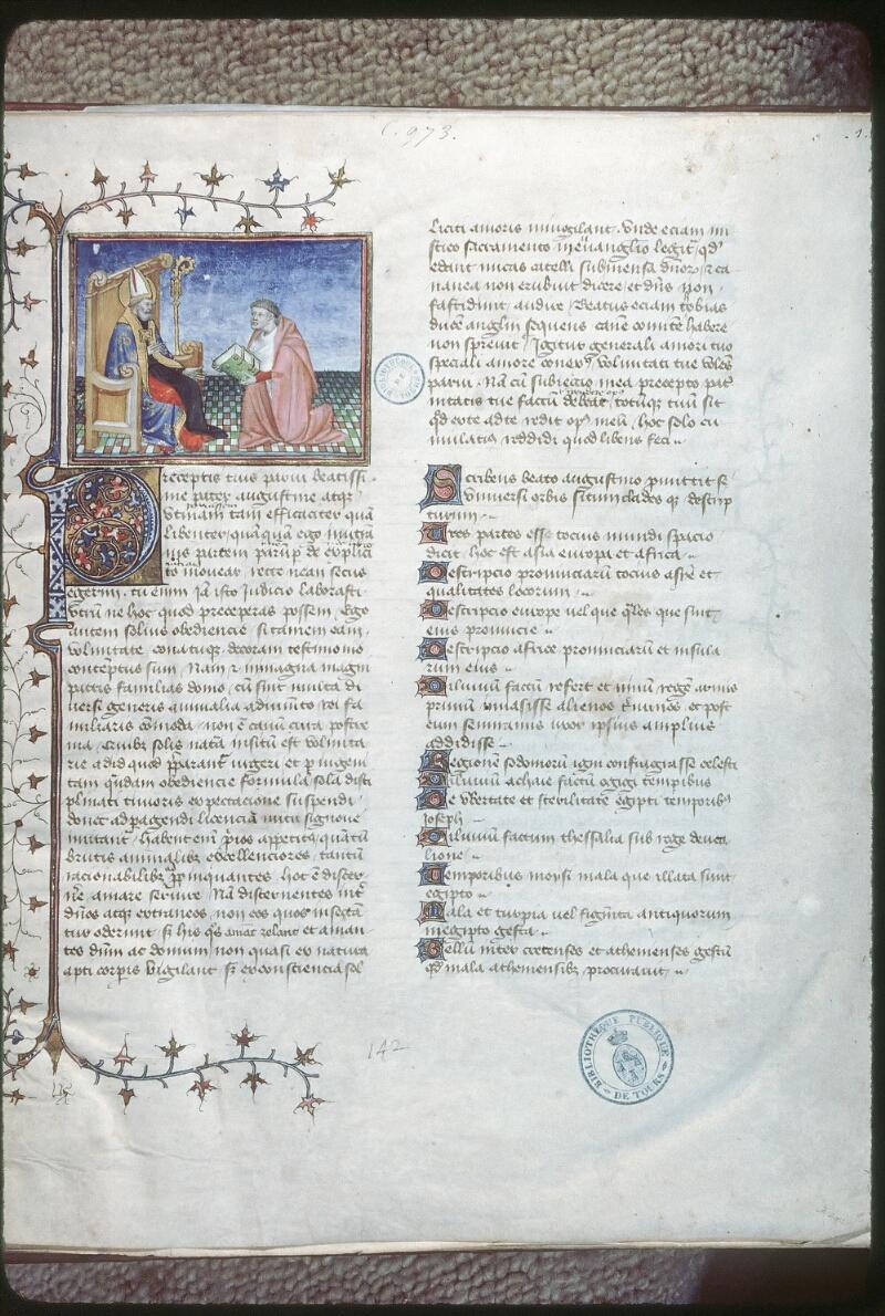 Tours, Bibl. mun., ms. 0973, f. 001 - vue 1