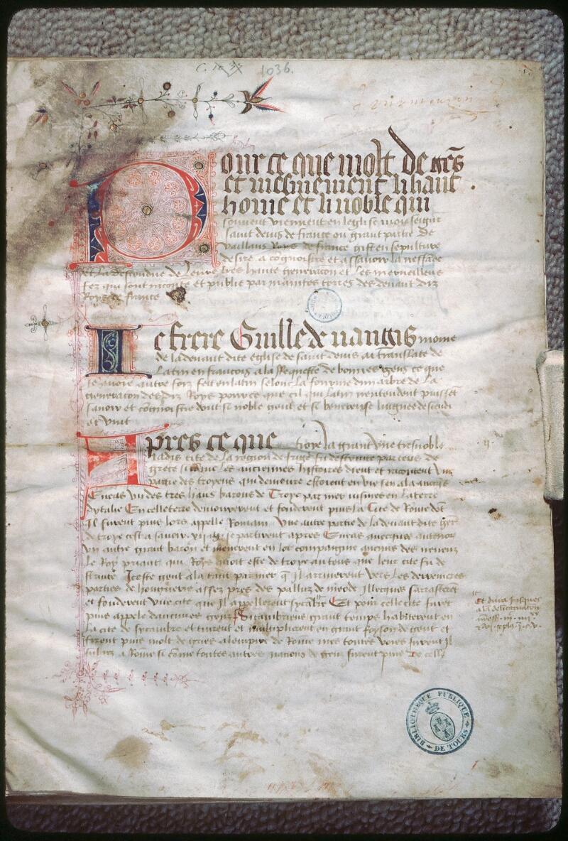 Tours, Bibl. mun., ms. 1036, f. 001