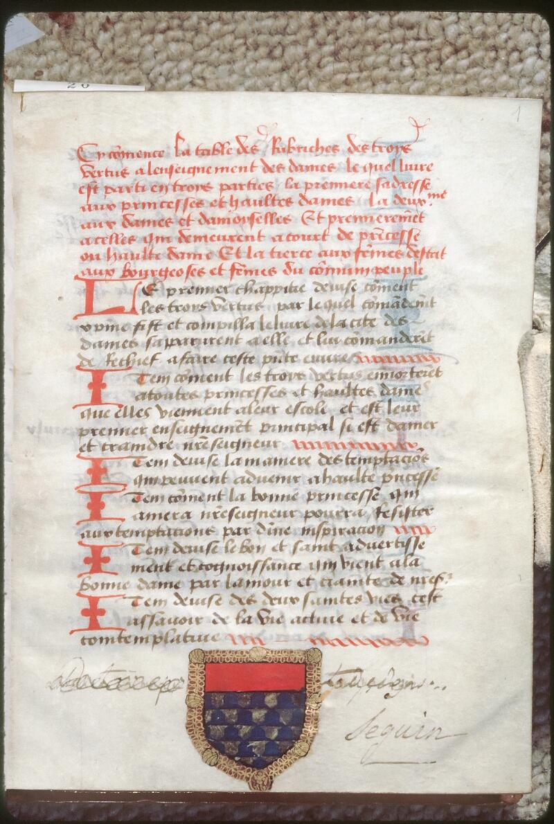 Tours, Bibl. mun., ms. 2128, f. 001 - vue 1