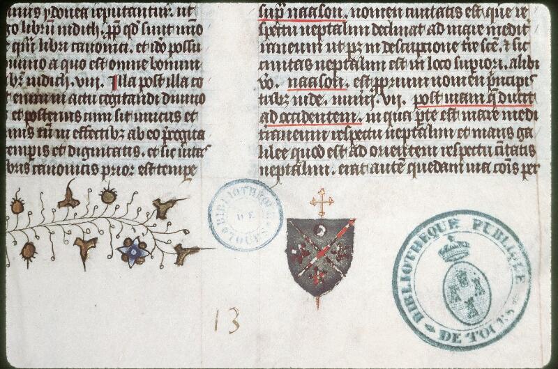 Tours, Bibl. mun., ms. 0060, f. 001 - vue 2
