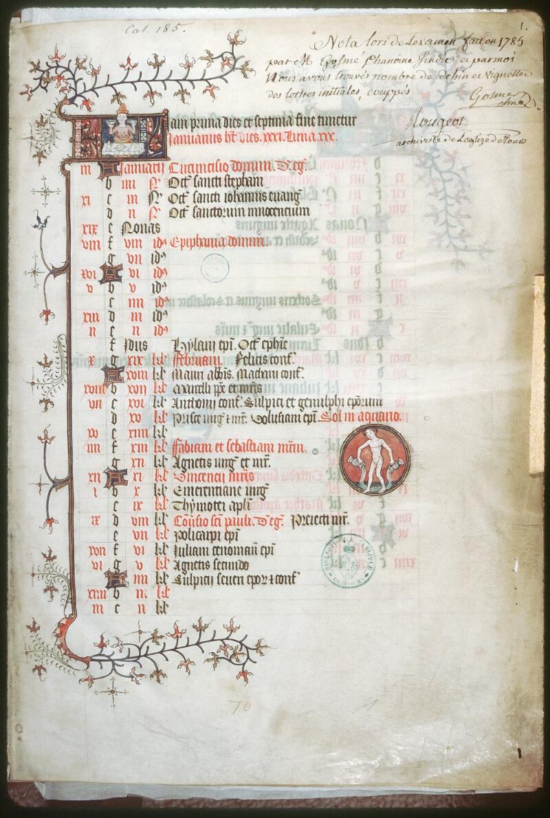 Tours, Bibl. mun., ms. 0185, f. 001 - vue 1