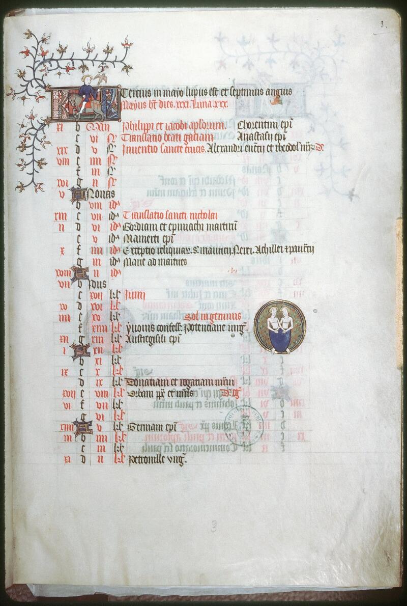 Tours, Bibl. mun., ms. 0185, f. 003 - vue 1