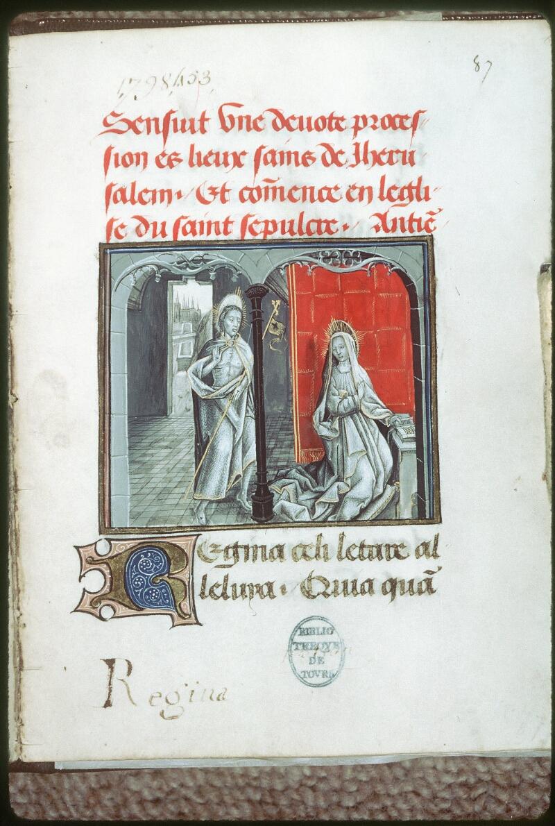 Tours, Bibl. mun., ms. 0219, f. 087 - vue 1