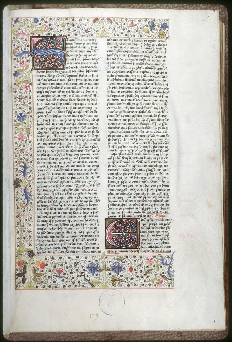 Tours, Bibl. mun., ms. 0109, f. 001 - vue 1